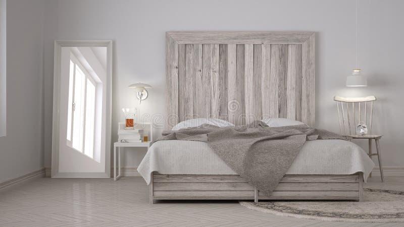 Dormitorio de diy cama con el cabecero de madera eco blanco escandinavo c imagen de archivo - Cabecero madera blanco ...