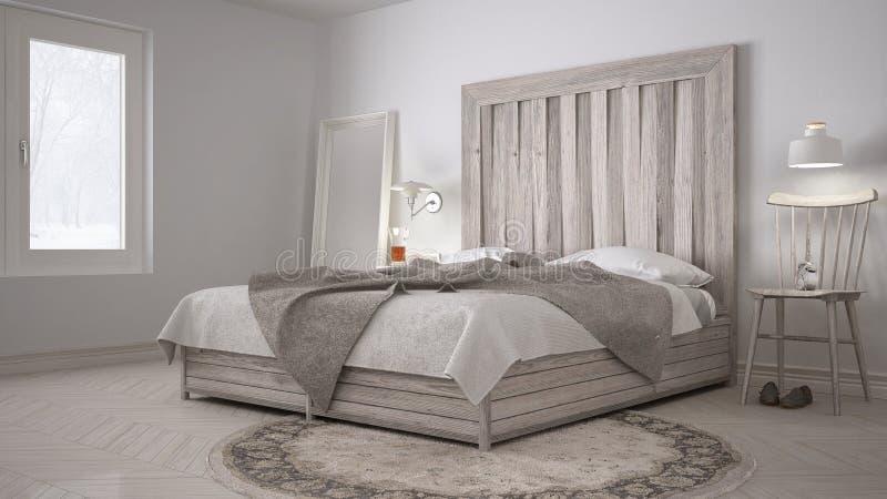 Dormitorio de DIY, cama con el cabecero de madera, eco blanco escandinavo c imagen de archivo libre de regalías