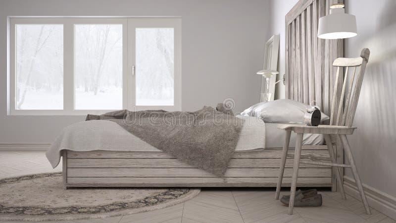 Dormitorio de DIY, cama con el cabecero de madera, eco blanco escandinavo c imagenes de archivo