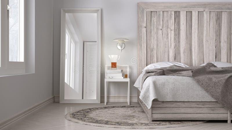 Dormitorio de DIY, cama con el cabecero de madera, eco blanco escandinavo c fotografía de archivo libre de regalías