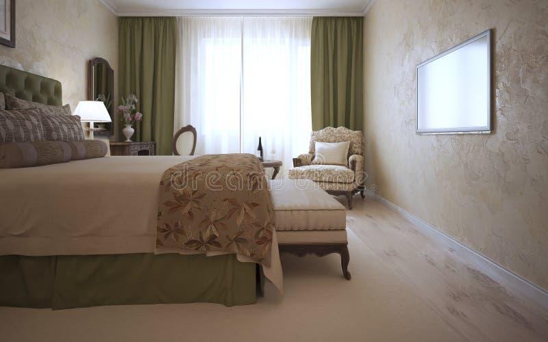 Dormitorio de huésped en estilo mediterráneo ilustración del vector
