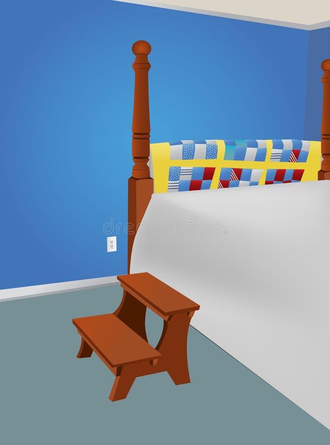 Dormitorio de huésped grande con pasos de progresión fotos de archivo libres de regalías