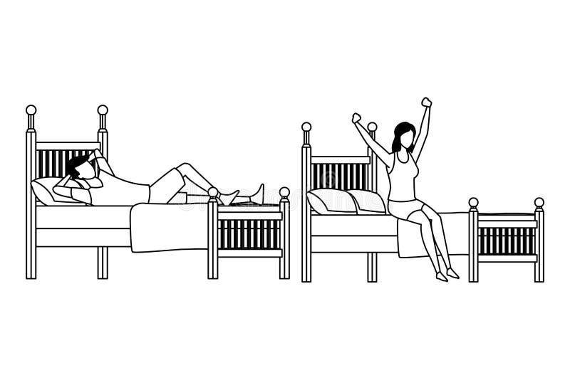 Dormitorio de la cama individual y gente anónima en blanco y negro stock de ilustración