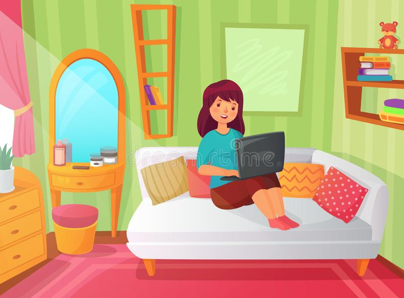 Dormitorio de la estudiante Sitio del apartamento del adolescente, estudio en línea en casa y lectura del estudiante de mujer en  ilustración del vector