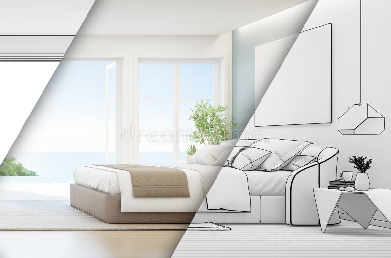 Dormitorio de la opinión del mar de la casa de playa de lujo del verano con la cama matrimonial cerca de la terraza del piso y de imágenes de archivo libres de regalías