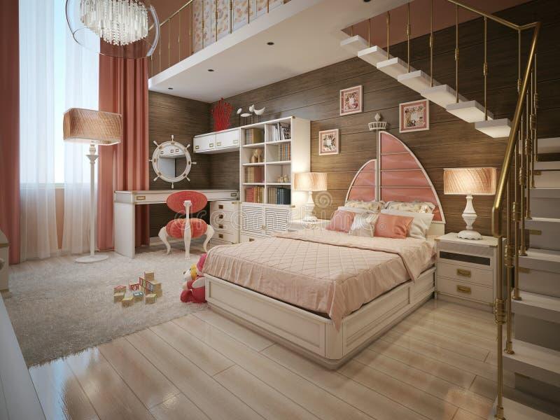 Dormitorio de las muchachas en estilo neocl sico stock de - Lampadario camera da letto ragazza ...