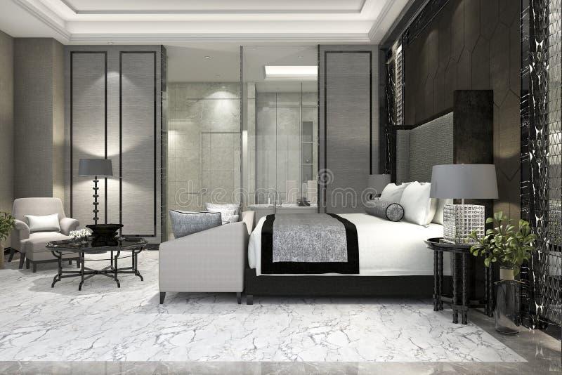 dormitorio de lujo de la habitación de la representación 3d en hotel cerca del cuarto de baño de cristal libre illustration