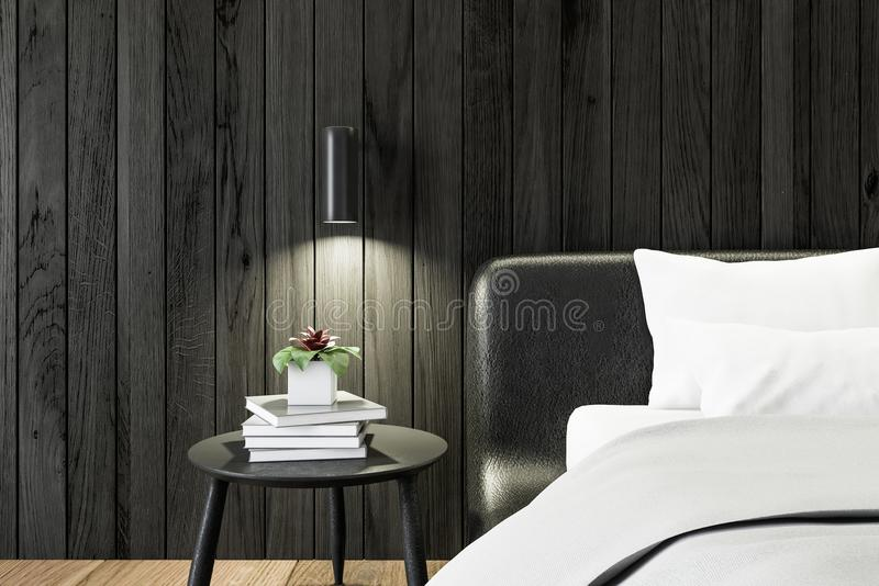 Dormitorio de madera negro, ascendente cercano de la mesita de noche stock de ilustración