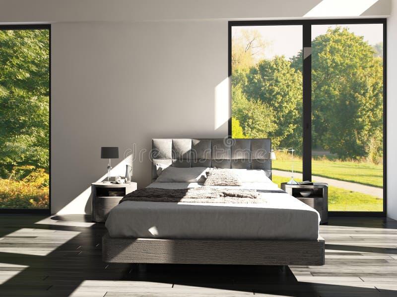 Dormitorio del diseño moderno con la opinión del paisaje fotografía de archivo