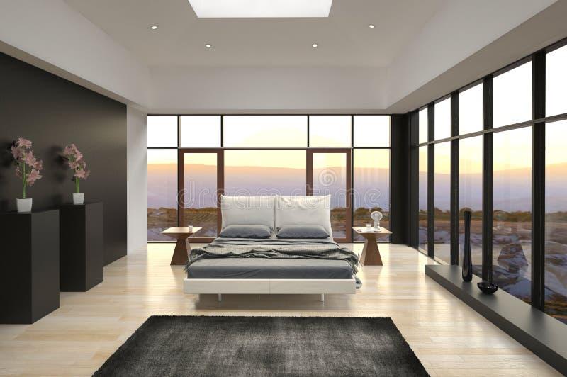 Dormitorio del diseño moderno con la opinión del paisaje fotografía de archivo libre de regalías