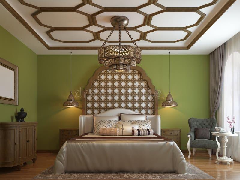 Dormitorio del este en estilo árabe, cabecero de madera y paredes verdes Unidad de la TV, tocador, butaca con la mesa de centro stock de ilustración
