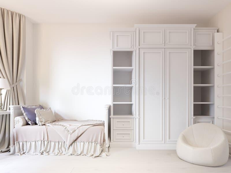 Dormitorio del juego de niños con una cama y una colcha hermosa ilustración del vector