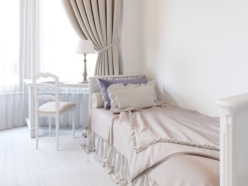 Dormitorio del juego de niños con una cama y una colcha hermosa libre illustration