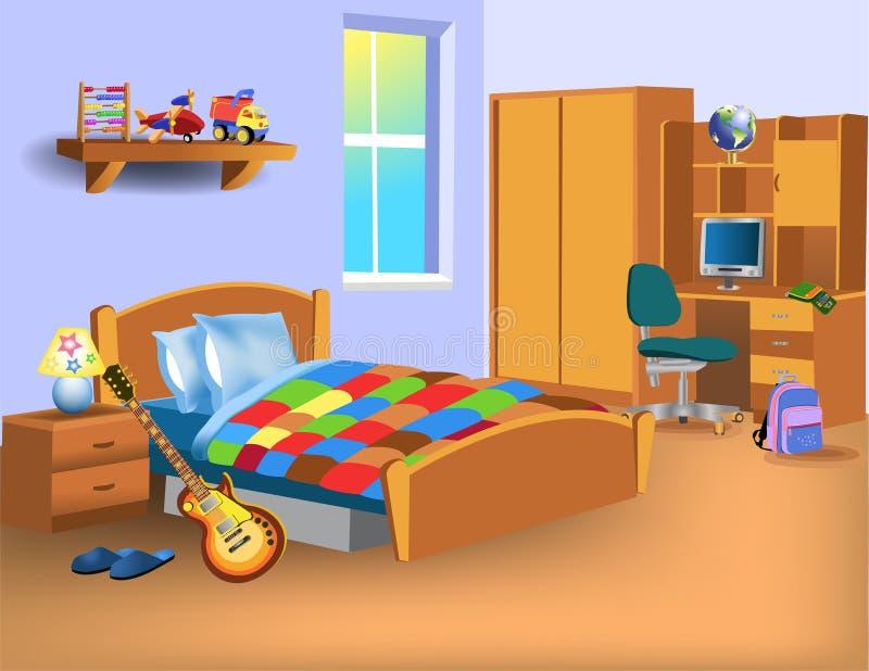 Dormitorio del niño de la historieta con el ordenador en el escritorio, los juguetes y la guitarra eléctrica ilustración del vector