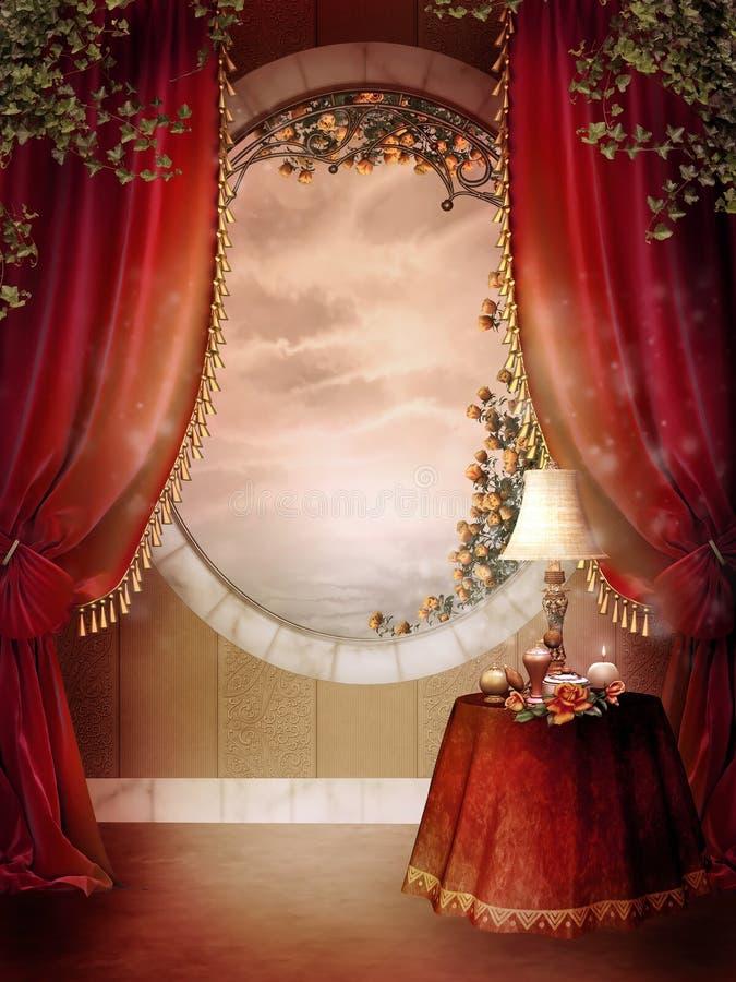 Dormitorio del Victorian con las cortinas rojas stock de ilustración