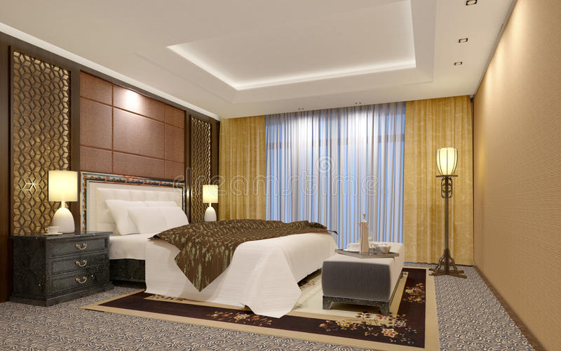 Dormitorio elegante del hotel de lujo fotos de archivo