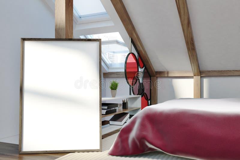 Dormitorio elegante en el ático, cartel libre illustration