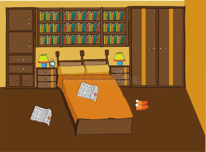 Dormitorio en el color anaranjado y marrón para los pares libre illustration