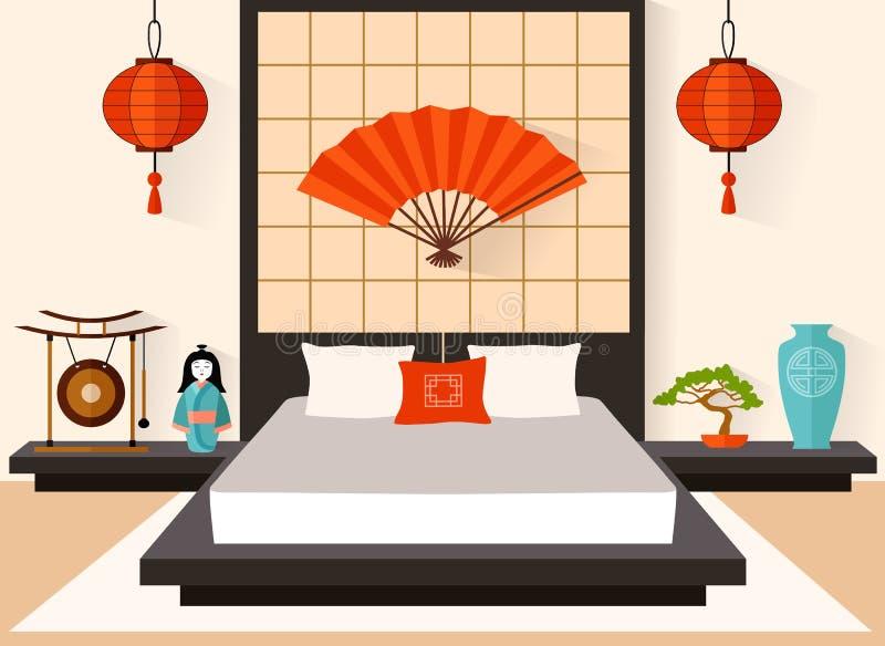 Dormitorio en el vector del estilo japonés stock de ilustración