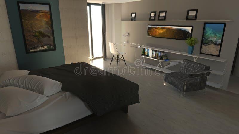 Dormitorio en estilo moderno con los guardarropas y los muebles Apartamento, proyecto arquitectónico libre illustration