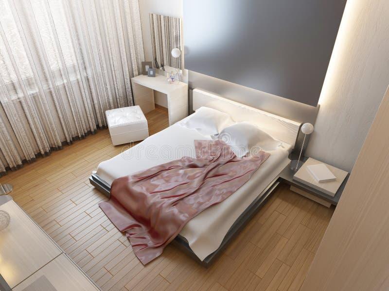 Dormitorio en luz oriental del estilo con las flores rojas y amarillas ilustración del vector