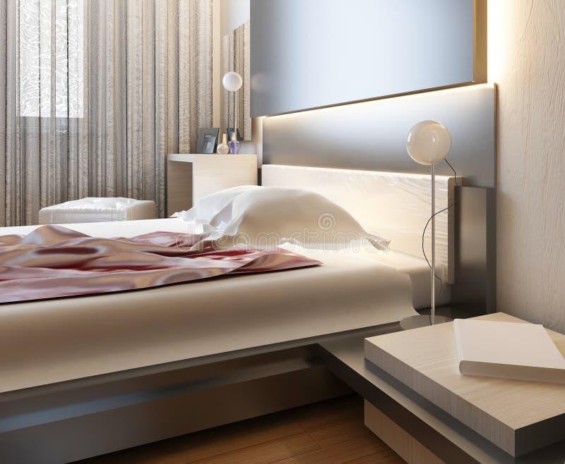 Dormitorio en luz oriental del estilo con las flores rojas y amarillas libre illustration