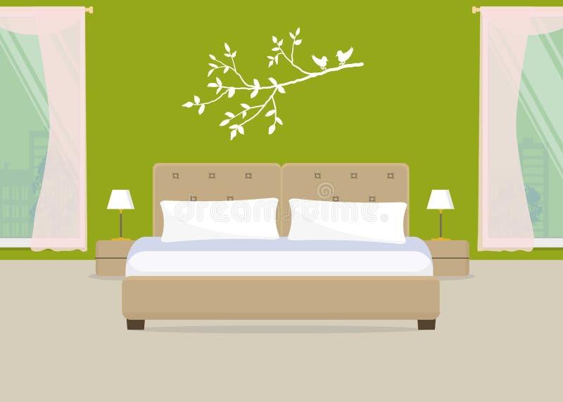 Dormitorio En Un Color Verde Stock de ilustración - Ilustración de ...