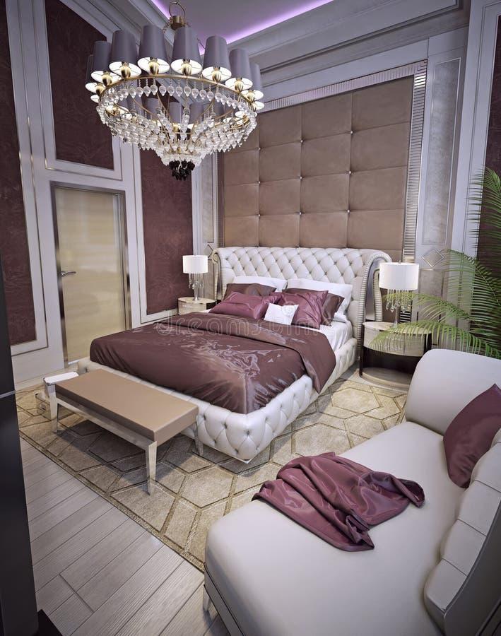 Dormitorio en un estilo clásico lujoso stock de ilustración