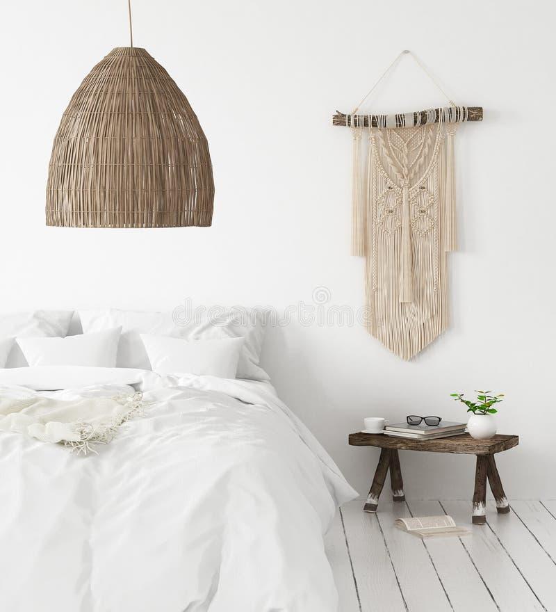Dormitorio, estilo del interior de Scandi-boho fotos de archivo libres de regalías