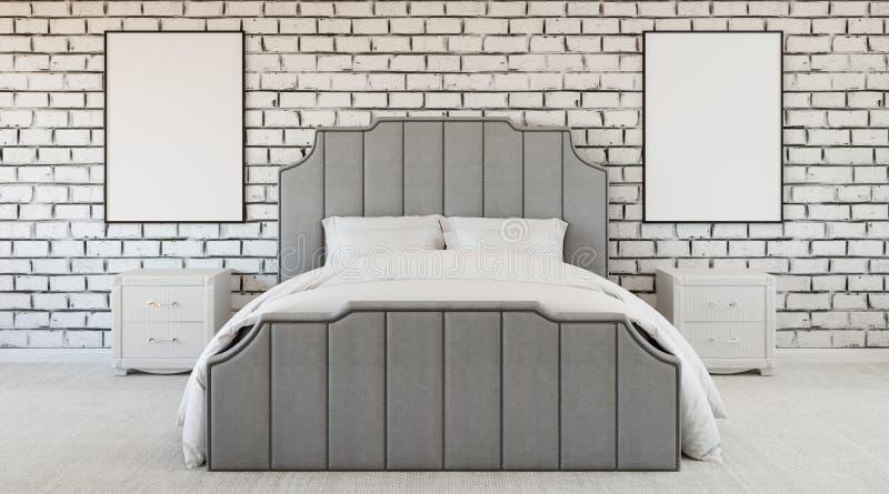 Dormitorio extraño del diseño moderno, pared de ladrillo, falta de color, blanco y negro libre illustration