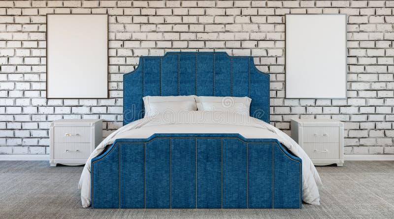 Dormitorio extraño del diseño moderno, pared de ladrillo, falta de color, blanco y negro y azul libre illustration