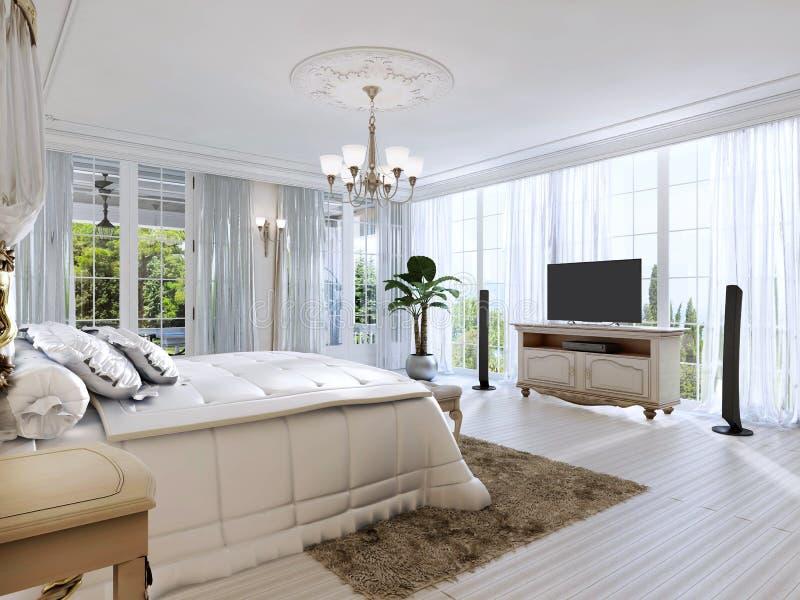 Dormitorio grande con Windows y las hermosas vistas panorámicos libre illustration