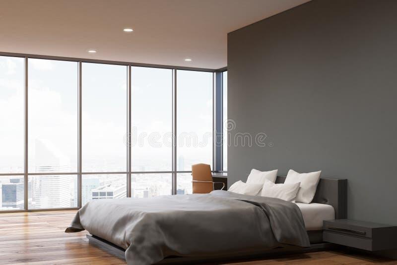 Dormitorio gris oscuro de la pared lado stock de for Dormitorio oscuro