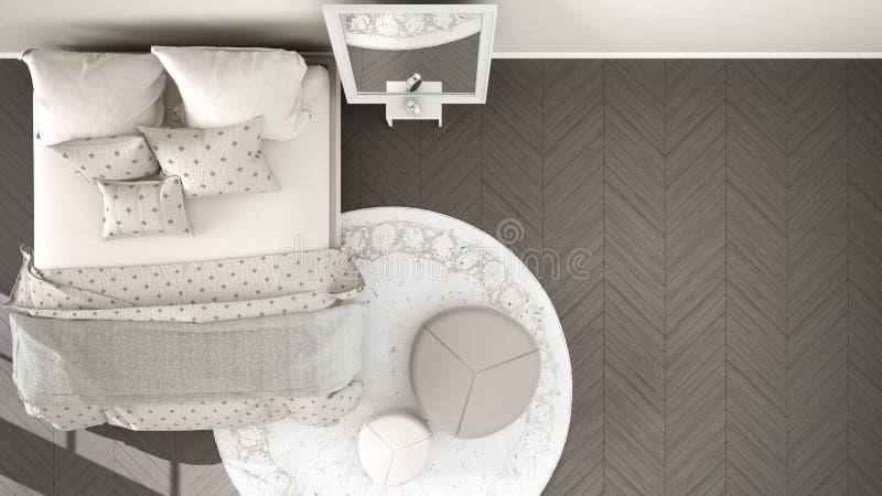 Dormitorio gris y beige moderno cómodo con el piso de entarimado de madera, la alfombra con el taburete y la cama con la manta y  libre illustration