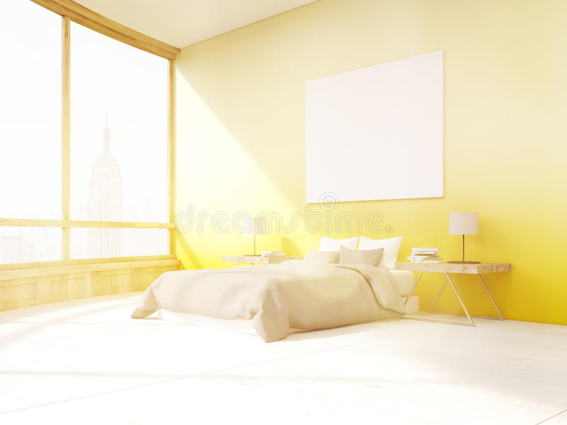 Dormitorio iluminado por el sol con las paredes amarillas en Nueva York ilustración del vector