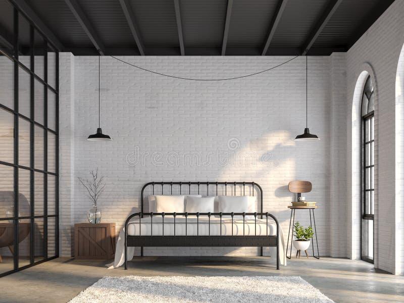 Dormitorio industrial 3d del desván rendir ilustración del vector