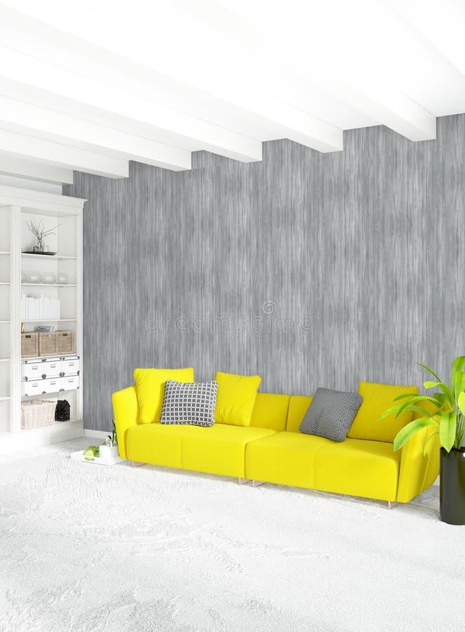 Dormitorio interior o sala de estar del desván moderno con la pared ecléctica con el espacio representación 3d stock de ilustración