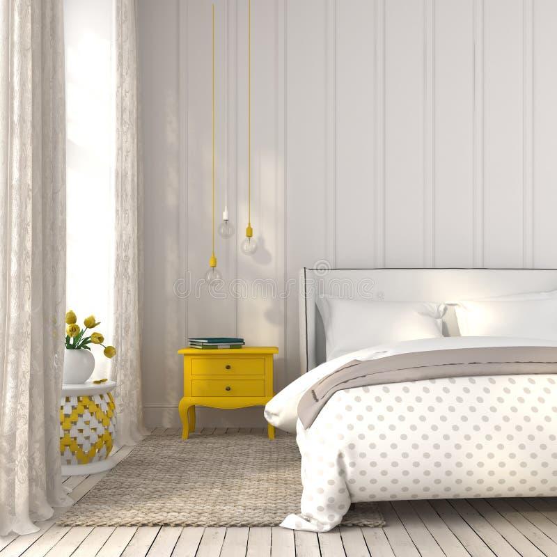 Dormitorio ligero con la mesita de noche amarilla fotografía de archivo libre de regalías