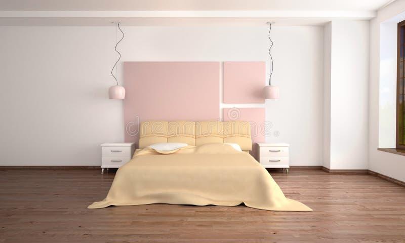 dormitorio ligero moderno interior en el estilo de stock de ilustración