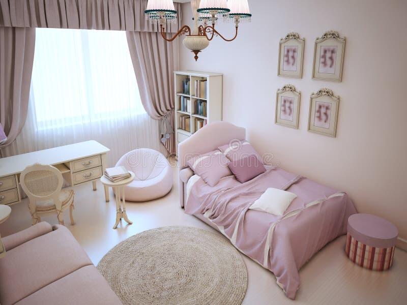 Dormitorio Lindo De La Muchacha Con Muebles Suaves Stock de ...