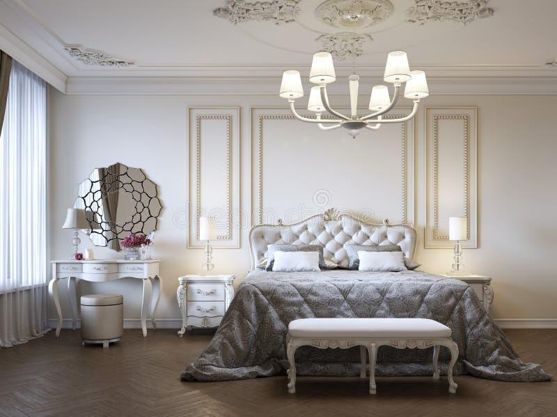 Dormitorio lujoso con la cama y mesitas de noche y tocador Interior del concepto, hogar, comodidad, hotel stock de ilustración