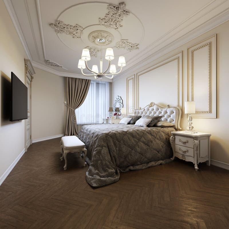 Dormitorio lujoso con la cama y mesitas de noche y tocador Interior del concepto, hogar, comodidad, hotel libre illustration