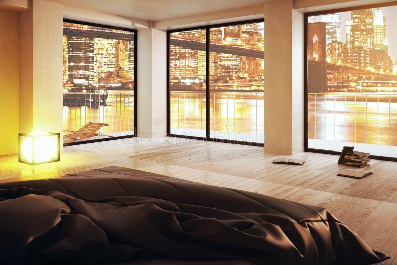 Dormitorio lujoso con la opinión de la ciudad libre illustration