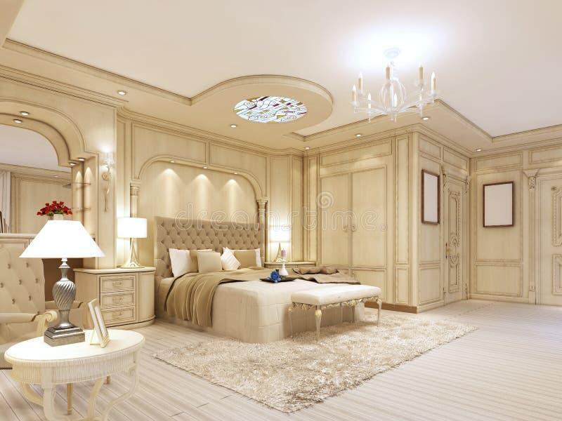Dormitorio lujoso en colores en colores pastel en un estilo neoclásico ilustración del vector