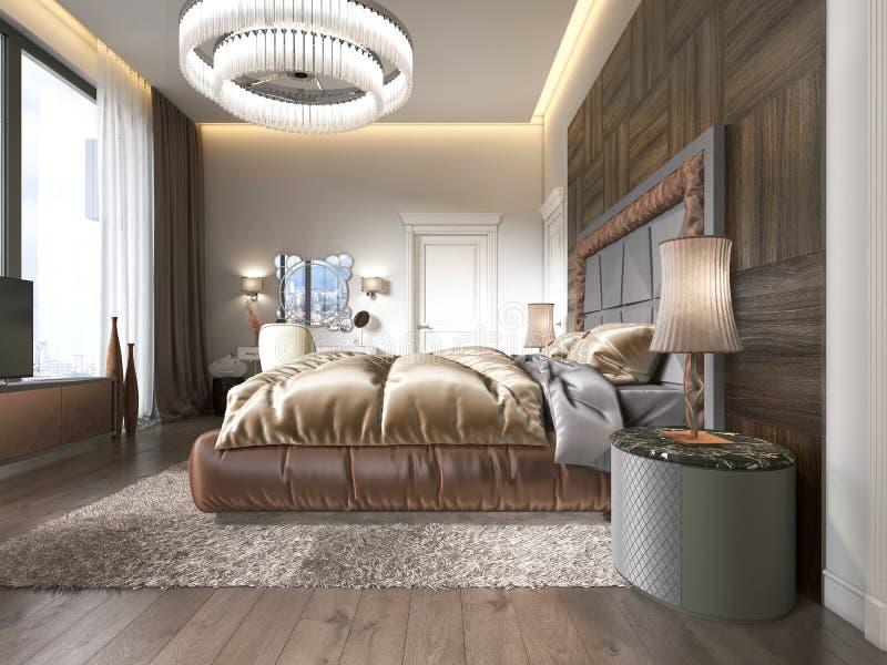 Dormitorio lujoso en estilo moderno con las ventanas grandes en la pared Lámpara del vidrio esmerilado, tocador, unidad de la TV  libre illustration