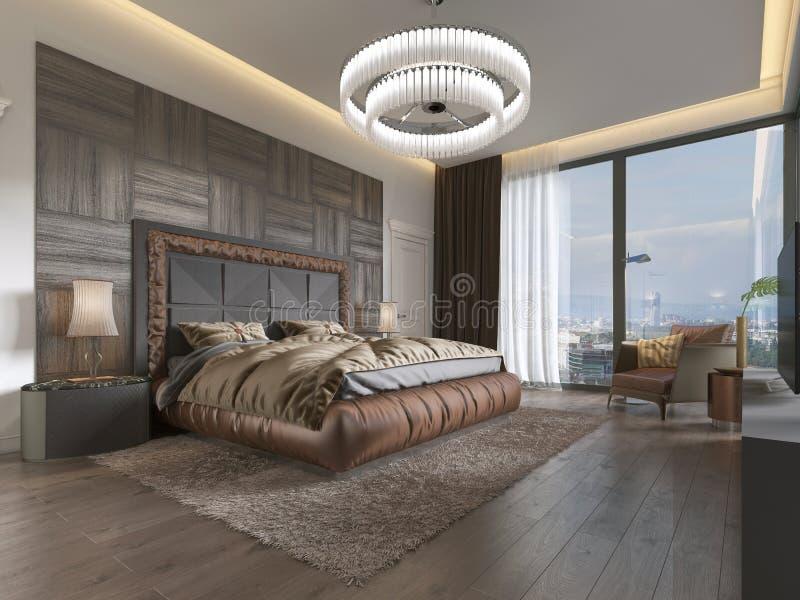Dormitorio lujoso en estilo moderno con las ventanas grandes en la pared Lámpara del vidrio esmerilado, tocador, unidad de la TV  stock de ilustración