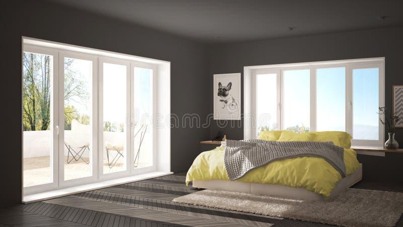 Dormitorio minimalista blanco y amarillo escandinavo con la ventana, la alfombra y el entarimado de raspa de arenque panorámicos, stock de ilustración