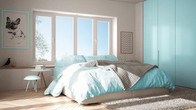 Dormitorio minimalista blanco y azul escandinavo con la ventana, la alfombra y el entarimado de raspa de arenque panorámicos, arc fotos de archivo libres de regalías