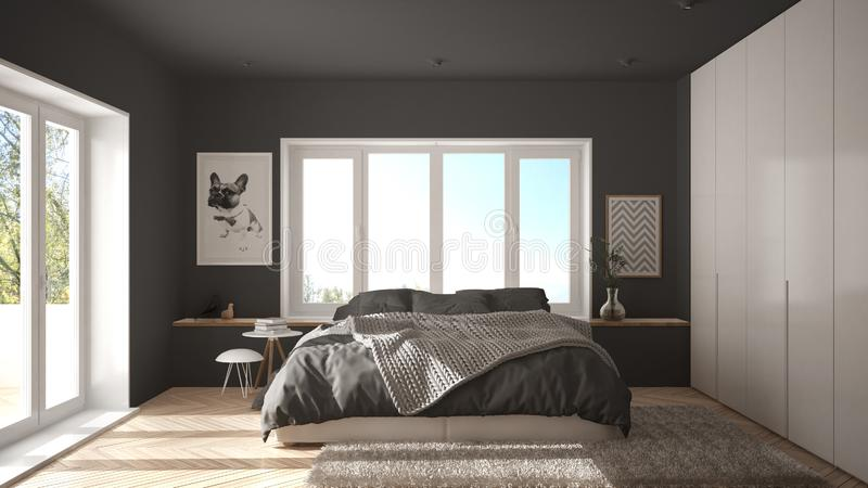 Dormitorio minimalista blanco y gris escandinavo con la ventana, la alfombra y el entarimado de raspa de arenque panorámicos, int stock de ilustración