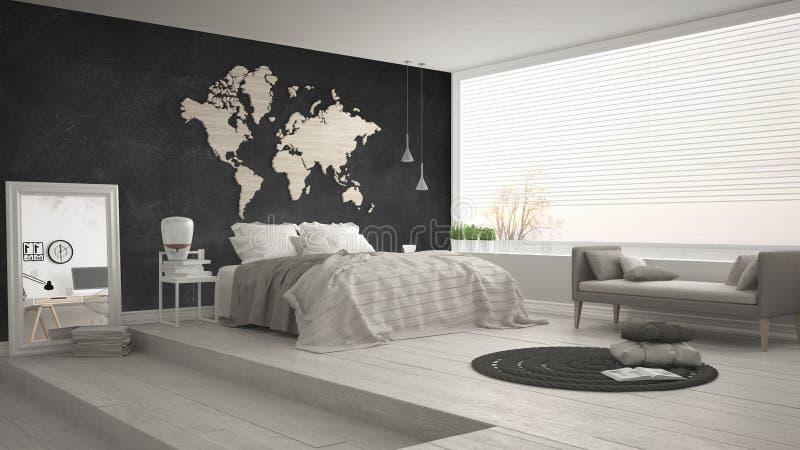Dormitorio minimalista escandinavo, interior moderno minimalistic de fotos de archivo